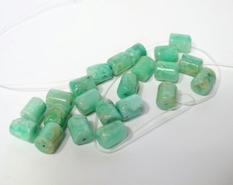 Chrysoprase beads- 8x10mm tube Chrysoprase beads- Green gemstone beads- DIY loose beads- SIX pieces