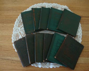 11 Lot Antique 1914-20's LITTLE LEATHER LIBRARY green brown Miniature Books-Classic Book Set-eclectic decor-Book Collection