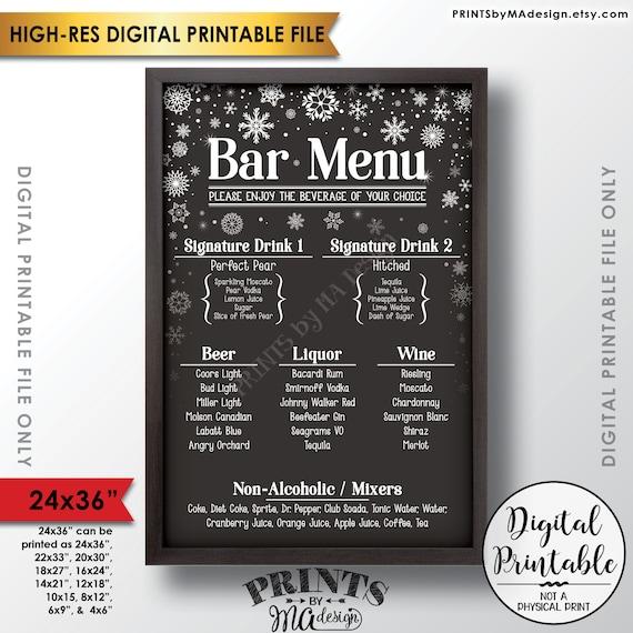 Items Similar To Bar Menu Sign, Signature Drinks Sign