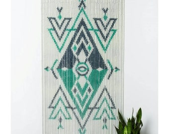Bamboo beaded curtain Arrows Abstract Triangle Hand Painted on both sides