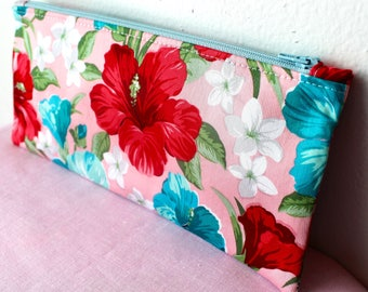 Pink Hawaiian Floral Pencil Case