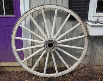 A Great Old Wagon Wheel With Wood Hub and Spokes, 52 inches, Vintage