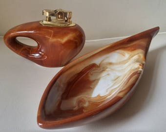 Mid century lighter and ashtray set / ceramic / collectable / made in Japan / brown swirl / marble look / working flint / mid mod / retro