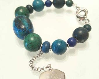 Lucky Charm Elephant Bracelet, Elephant Semi Prescious Blue  Green Bracelet, Elephant Charm Bracelet.
