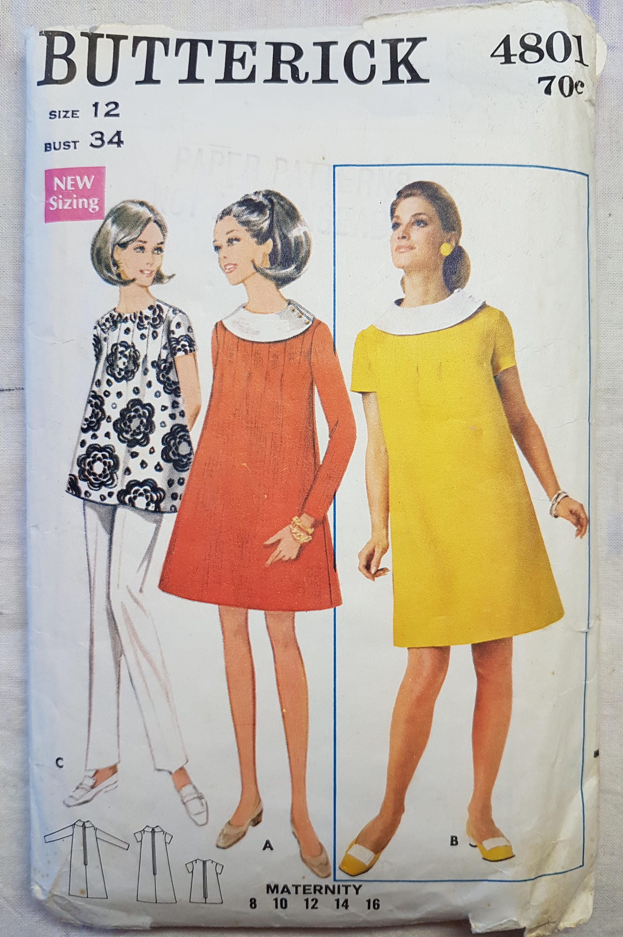 60s butterick 4801 maternity dress or maternity top vintage sewing sold by vintageguardian ombrellifo Images