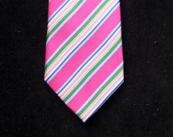 Vintage Jeff Banks London Hand Made Gentleman's Pink Striped Silk Tie