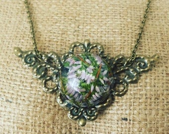 Necklace with Heather flowers, Real flowers necklace