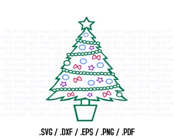 Christmas Tree Clipart, Winter Christmas Wall Art, Tree SVG File for Vinyl Cutters, Screen Printing, Silhouette, Die Cut Machines - CA381