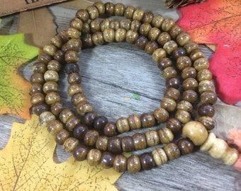 108pc 6mm Barrel Tiebetan Yak Bone Mala Rosary Tassels Spacer Beads Meditation Buddhist Japa Mala Necklace
