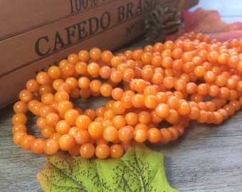 "Orange 6mm Pearl oyster Shell Beads Shiny Shell Stone Beads 15"" Loose Beads DIY Suppliers for Jewelry Spacer Charms  1 Strand"