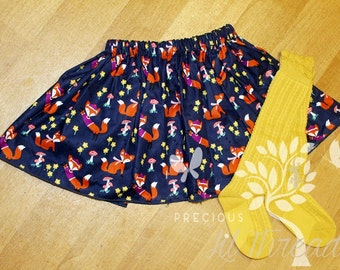 Toddler Girls Skirt- Baby Girls Skirt- Girls Skirt- Fox Skirt- Full Gathered Skirt- Twirl Skirt- Navy, Mustard, Magenta Skirt- size 12m-8yr