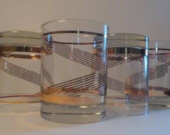 Four Vintage Rocks Glasses