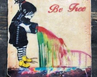 Be Free Graffiti Coaster or Decor Accent