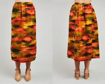 90s Orange and Green Painted Print Full Maxi Skirt • M / L