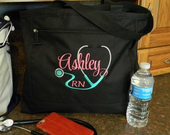 Black Personalized Medical Occupation Tote Embroidered Stethoscope Design Nurse LPN Dr PA OT  Customize w/ Name & Credentials