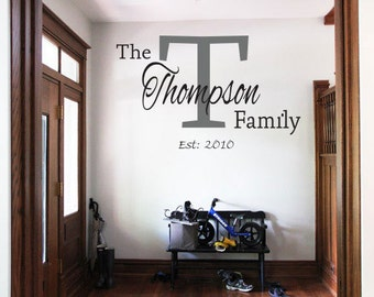 Family Name with Letter wall art vinyl decal decor