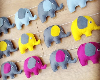 Elephant felt bunting for nursery or kids bedroom