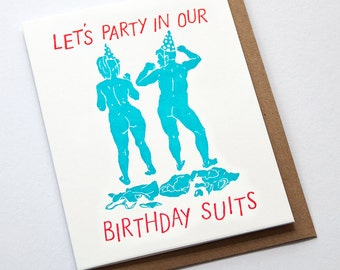 Party In Our Birthday Suits Card // Letterpress