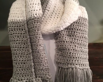 Oversize Gray and White Crochet Scarf