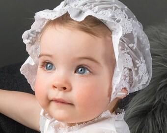 Melissa Christening Bonnet, White Lace Baptism Bonnet
