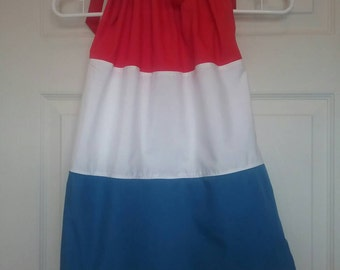 Red, White, and Blue Dress / Patriotic Dress / 4th of July Dress / Pillow Case Dress / Baby Girl / Toddler / Little Girl