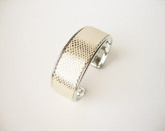 Inlaid silver leather Bangle Bracelet
