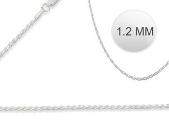 """Italian Solid Sterling Silver Fancy Rope Chain 030 - 1.2MM ( 20"""" inches long)"""