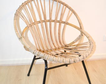 Chair shell adult feet in metal, Chair, rattan, rattan, Scandinavian