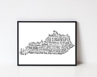 Hand lettered LEITCHFIELD Kentucky Word Art Print // 8x10
