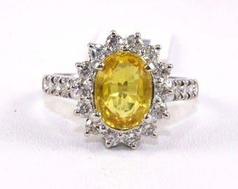 Fine Oval Cut Yellow Sapphire Ring w/Diamond Halo 14k White Gold 3.31Ct
