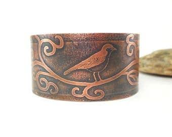 Poetic cuff, serious cuvire, bird, romantic bracelet