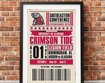 University of Alabama Football Retro Ticket Print