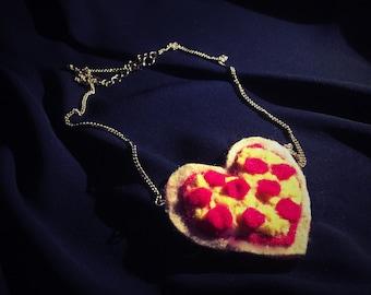 Pizza Heart Pendant Necklace