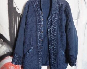 Vintage Embroidered Deep Blue Indian Sweater Jacket