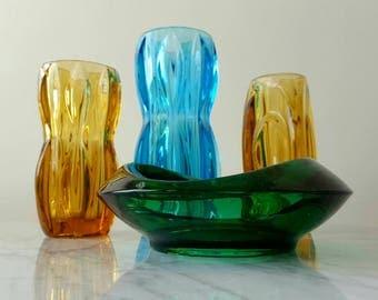 Set Of 4 Rosice Sklo Union Czech Art Glass Vases Ashtray Green Blue Amber Rudolf Schrotter Rudolf Jurnikl Jan Schmid Mid Century Modern