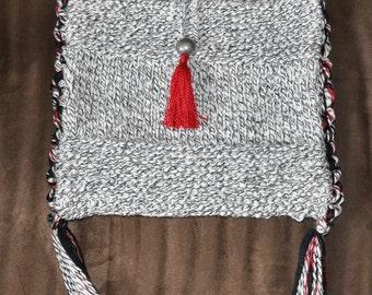Black & White Marled Knitted Bag