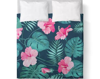 Pretty Tropical Pink Green Duvet Cover/ Comforter cover/ 3 sizes available, king, queen, twin /bedding/Pretty Tropical Print comforter cover