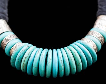 FREE SHIPPING.Natural stones in turquoise  and metal rings necklace. Tanfouk Talhakimt amulet, talisman. Ethnic jewellery