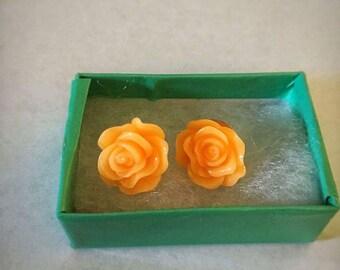 Tangerine Rose Earrings