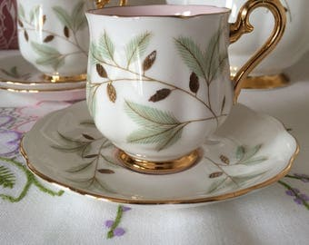 Royal Albert BRAEMAR Coffee Cup and Saucer.  Pretty Leaf Pattern. Baby Pink Cup Interior. Fine Bone China made in England.