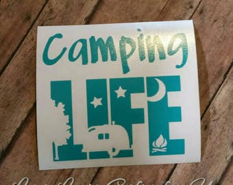 Camping Life Decal Camper Decal Camping Decal, rv, camping, camper, motorhome, travel trailer, camper life, tent