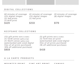 Pricing Guide Photoshop Template / Photography Sessions Pricing Sheet