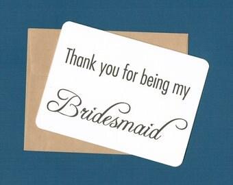 Bridesmaid Card, wedding favor, bridal shower favor, bridesmaid thank you card