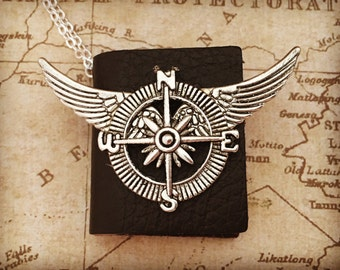 Tiny Book Compass With Wings Necklace Real Book Jewelry Pendant - Book Necklace With Compass and Wings - Real Tiny Book Necklace Steampunk J