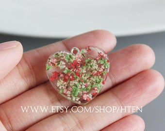2pcs Heart-shaped Handmade multiple Colour Floral  Resin Charms - Resin flower jewelry - floral Pendant
