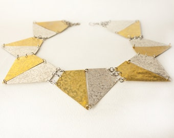 Silver and gold statement necklace, geometric tribal necklace with hammered brass and silver, made in Italy, contemporary jewelry