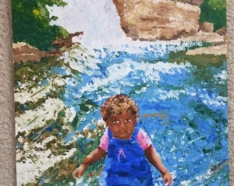 Print of Impressionistic Painting of Child in Waterfall
