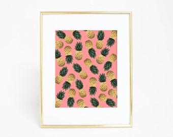 pink pineapple print girls pineapple art girls wall art pineapple decor tropical