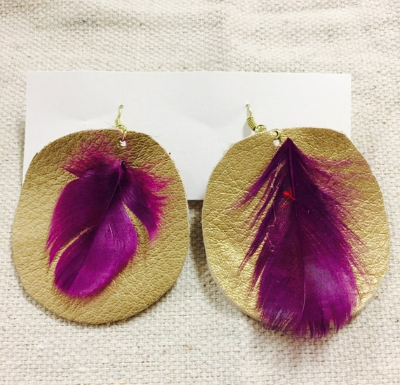 Real feather on leather earrings