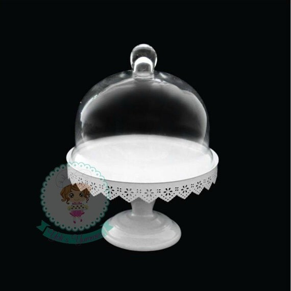 Fast Shipping 13 Inch Glass Dome Cover Cake Stand With Metal